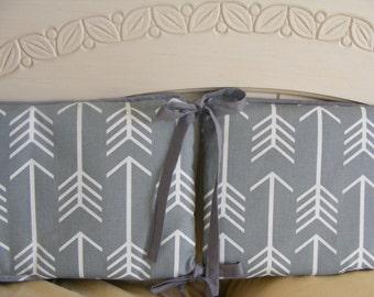 Custom Crib Bumper Six Piece Grey Arrows Woodland Tribal