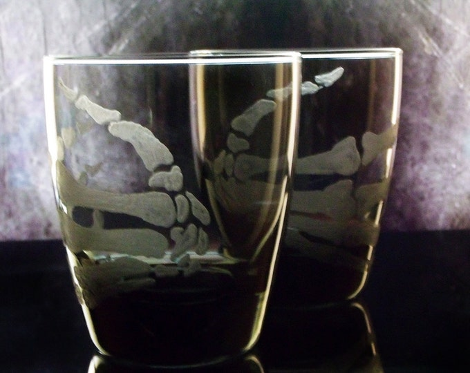Spooky skeleton hand  glassware tumblers whiskey glass double old fashioned Halloween