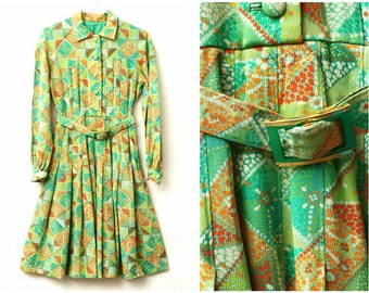 Green Mod Dress - 70s, long sleeves, geometric abstract print, lime green, orange, white, yellow, xs - small