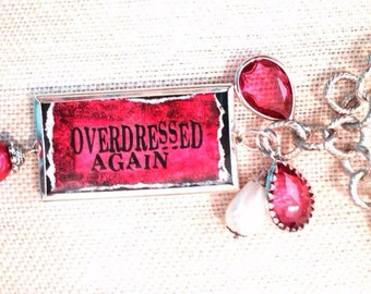 Over Dressed Again Charm Necklace Shadow Box Hot Pink