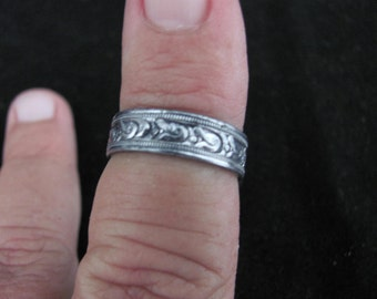 Vintage Sterling Silver Band Size 8 From the 1940's