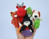 Crochet Finger Puppets - Fairy Tale Set - Room On The Broom - Bedtime Story - Amigurumi - Puppets