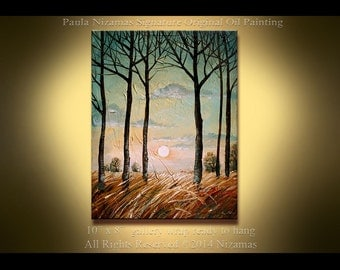 Enveloped by the Evening Mist - Original Oil Landscape  Painting by Paula Nizamas Ready to Hang Ready to ship