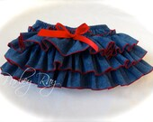 Beautiful Parley Ray Cowgirl Western Denim Ruffled Diaper Cover/ Baby Bloomers/ Photo Prop