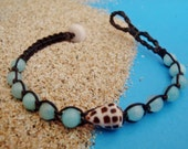 Hebrew cone shell & gemstone macrame bracelet - Hawaii shell jewelry