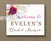 Plum Watercolor Bloom Welcome Sign Purple Pink Bridal Shower Wedding Buffet Food Table Sign Printable 8x10 DIY Digital or Printed - Evelyn