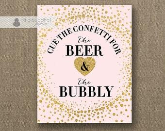 "Beer & Bubbly Sign INSTANT DOWNLOAD 8x10"" Blush Pink Gold Glitter Champagne Drink Bar Wedding Bridal Shower Printable DIY Digital - Remy"