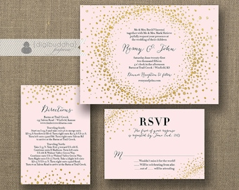 Blush Pink & Gold Glitter Wedding Invitation RSVP Info Card 3 Piece Suite Modern Deco Chic Vintage Glam Sparkle DIY or Printed - Remy