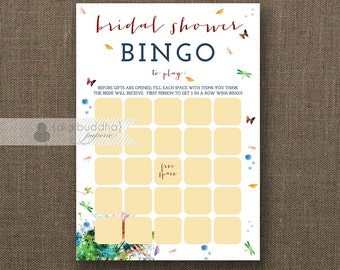 """Rainbow Watercolor Floral Bridal Shower Bingo INSTANT DOWNLOAD 5x7"""" Shabby Chic Bridal Shower Game Card DIY Printable or Printed- Alice"""