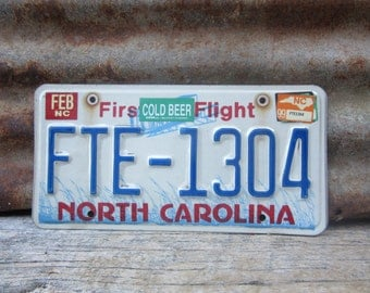 License Plate Vintage License Plate 1999 90s Era NC North Carolina First in Flight License Plate Blue Man Cave Sign Garage Sign Wall Hanger