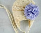 Baby Girl Hat Infant Hat Baby Girl Photo Prop Newborn Hat Baby Hat Earflap