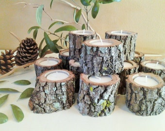 TREASURY ITEM - 50 Rustic wedding candles - Wood tree branch candles - Wood candles - Rustic tree candle - Home and living - Cabin decor