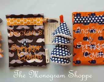 Sprinkler Covers for Baby Boys, Mustache or Whale Print (FREE PERSONALIZATION)