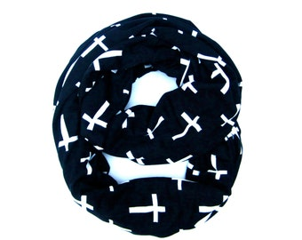 Cross Scarf, Printed Scarf, Infinity Scarf, Circle Scarf, Black Cross Scarf, Cross Infinity Scarf, Christian Scarf, Hipster, Gifts Under 20