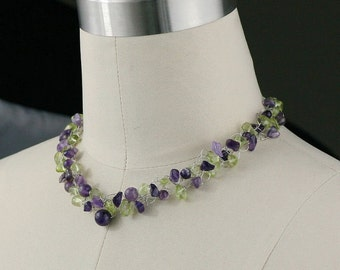 Amethyst peridot chunky crochet necklace bridesmaids gifts Free US Shipping handmade Anni Designs