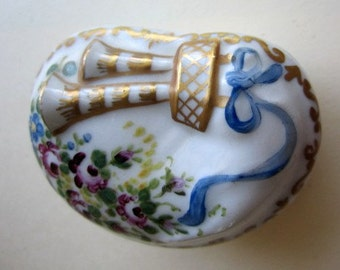 Antique Trinket Box with Bagpipes.  Handpainted.Floral with Blue Ribbon.