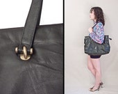 Leather OVERSIZED Bag // 1990s Lord and Taylor Tote // Black Brass Hardware