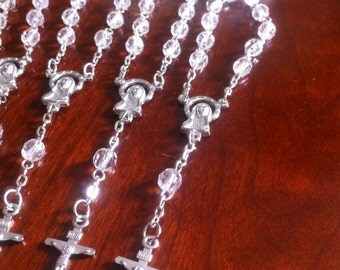 24 pcs  First communion favors / Mini  Rosary Baptism Favors / Baptism favors / Religious Mini Rosary / Narelo
