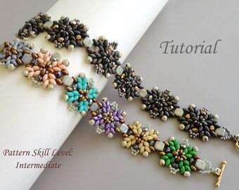 MYSTIC twin or superduo beaded bracelet beading pattern beading tutorial seed bead jewelry beadweaving tutorials beading pattern instruction