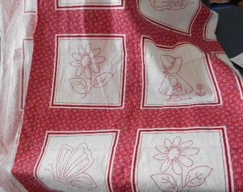 Cheaters Red Work Quilt fabric