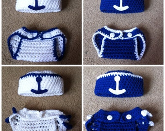 Crochet Sailer Boy/Girl Outfit (Hat and Diaper Cover)