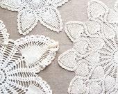 Crochet Doilies Vintage Starburst Crochet Set of Three Lace Cream White Beige Taupe Handmade Doilies Home Decor