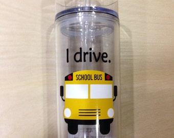 School bus skinny acrylic tumbler