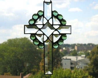 Stained GlassArt|Suncatcher|Cross|Celtic Cross|Beveled Glass Cross|Green|Art & Collectibles|Glass Art|Suncatchers|Handcrafted|Made in USA