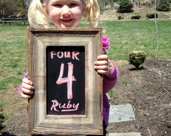 Kids Chalkboard for Yearly Photos framed primitive small
