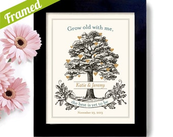Wedding Tree Unique Engagement Gift, Personalized Wedding Gift, for Couples, Anniversary Gift Framed Art Print, Grow Old with Me