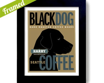 Black Lab Art Labrador Retriever Coffee Art Black Dog Art Print Labrador Art Coffee Roaster Personalized Coffee Shop Dogs Name Custom Dog