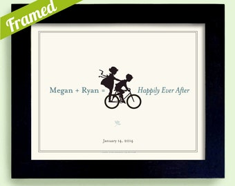 Framed Unique Engagement Gift,  Personalized Wedding Decor,  Gift for Couples, Bicycle for Two, Bridal Shower