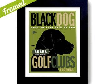 Black Lab Labrador Retriever Golf Art Black Dog Personalized Dog Art Gift for Dad Office Decoration Mans Gift Dogs Name Art Golfer Gift