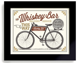 Whiskey Art Print, Bar Sign, Antique Bicycle Art Print, Scotch Whiskey Barrel, Living Room Office Art Beer Decor Poker Room