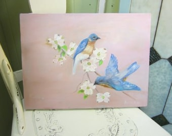 Vintage Original Oil On Canvas Blue Birds Pink Shabby Chic Artist Signed  FREE Shipping