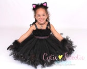 Petti Tutu Dress - Halloween Cat or Kitten Costume - Black and Pink - Curious Cuddles - 5-6 Youth Girl - Cutie Patootie Designz