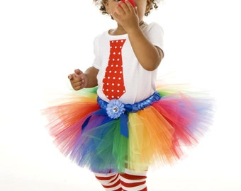 COMPLETE COSTUME: Ready to Ship - Tutu Skirt - Halloween or Birthday Costume - Rainbow - Cutie Patootie Clown - 5-6 Youth Girl