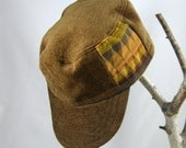 Steampunk Military Cadet Hat / Cap plush caramel brown with gold, orange, and brown, OOAK
