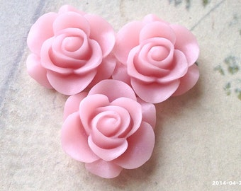 21 mm Rose Resin Flower Cabochons of Different Colors (.nm)(new.am)