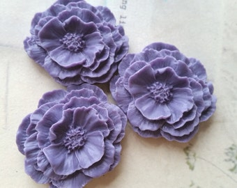 35 x 41 mm Purple Color Resin Camellia Flowers  (.hg)