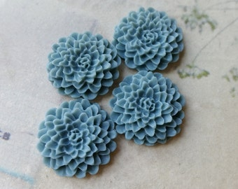 22 mm Baby Blue Colour Resin Chrysanthemum Flower Cabochons (.ag)(zzb)
