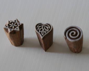 Indian Wood Stamps - Set of 3 - Patterns [2] - Wood Block Printing - India