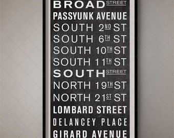 Philadelphia Pennsylvania Antique Subway Scroll - Destination List, Train Scroll, Bus Scroll, Bus Blind, Bus List, Roll Sign, Bus Roll, Sign