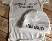 Production Baby One Piece & Hat Set (Custom Colors/Text)