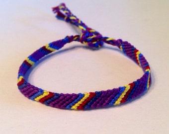 Purple, Blue, Yellow & Red Stripes - Friendship Bracelet