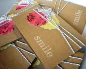 """Notecard Set of 6 Kraft Cards with Stamped """"smile"""""""