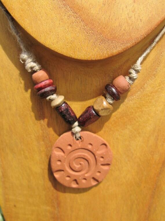 Terracotta Neck Pendant Diffuser ~ Personal terracotta clay diffuser necklace celestial sun