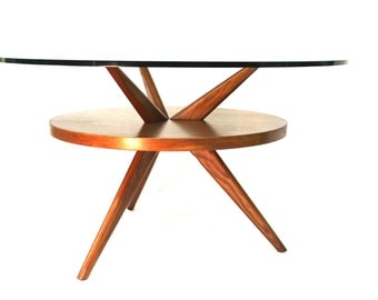 Mid Century Modern Kagan, Adrian Pearsall style table wood and glass