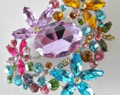 "SALE  Oversized and Dazzling Multi-Colored Brooch, Pendant, Pin, huge 2 1/2""W, 3 1/2"" SALE was 145.00 now ****"