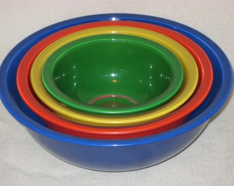 Bright, Colorful Pyrex Nested Mixing Bowls with Clear Bottoms